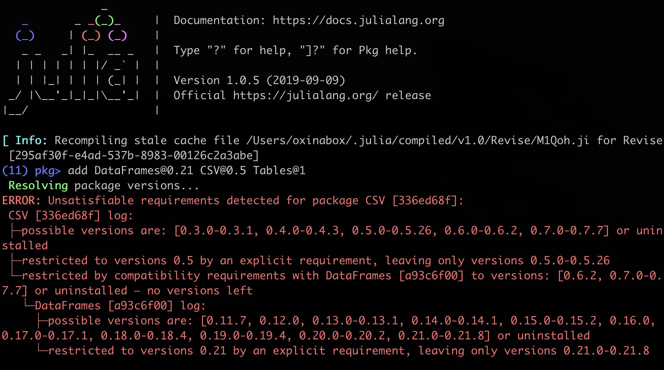 Julia 1.0 conflict log