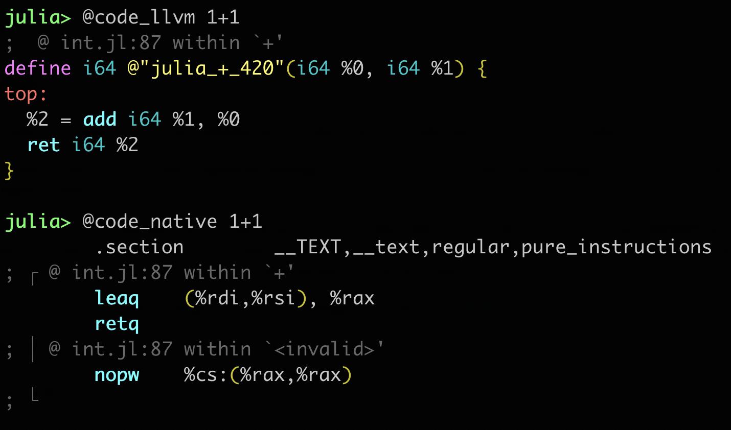 Julia 1.6 code_llvm