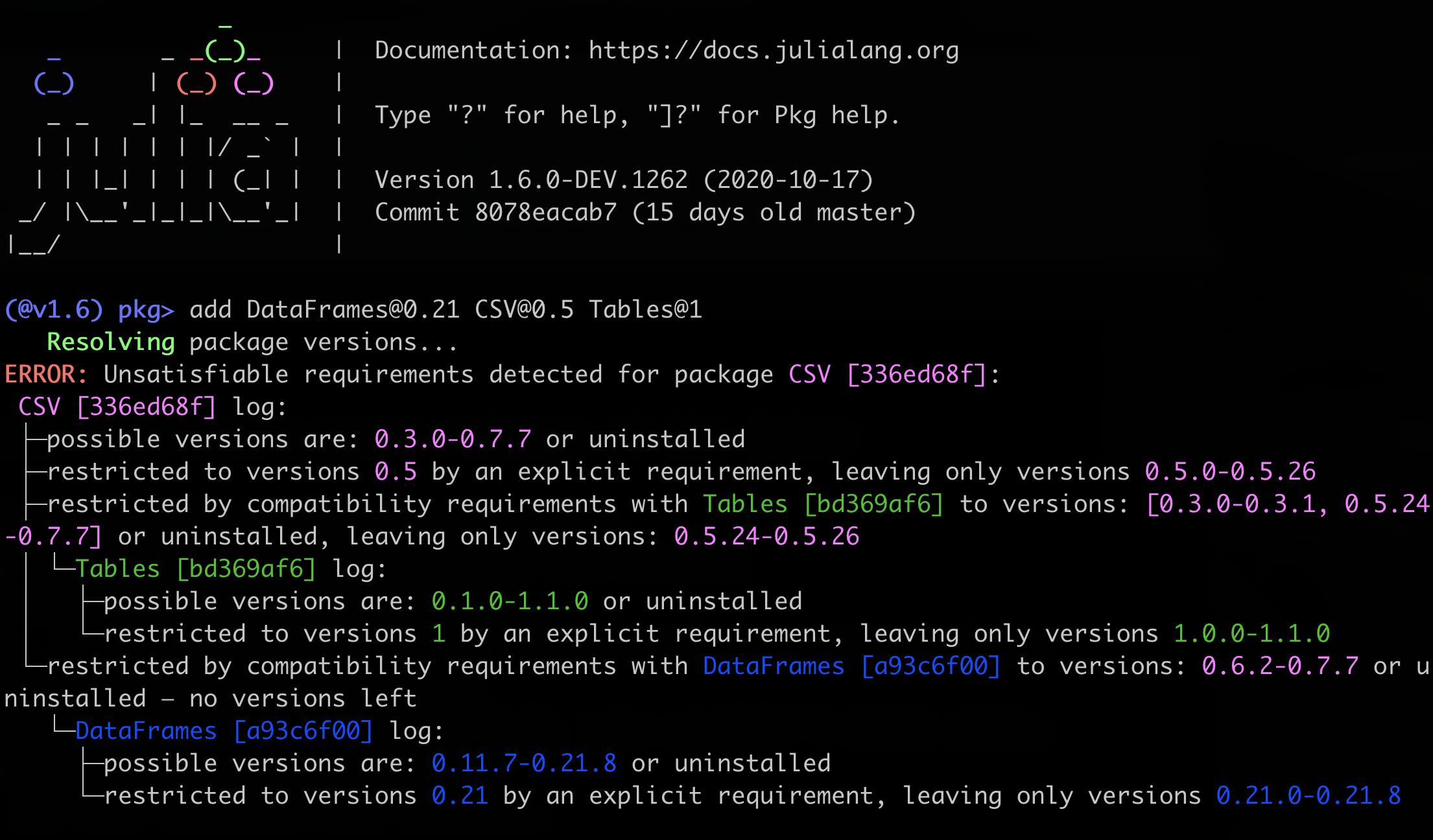 Julia 1.6 conflict log